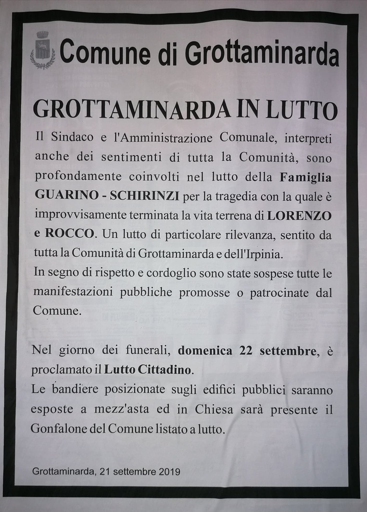 GROTTAMINARDA IN LUTTO.